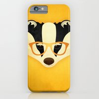 iPhone & iPod Case featuring Hipster Badger: Gold by Jenny Lloyd Illustration