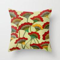 Poppies (warm) Throw Pillow