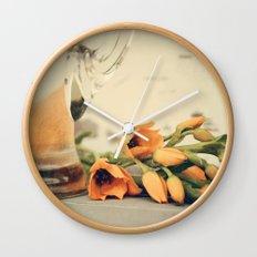 Tulips of orange Wall Clock