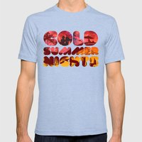 COLD SUMMER NIGHTS Mens Fitted Tee Tri-Blue SMALL