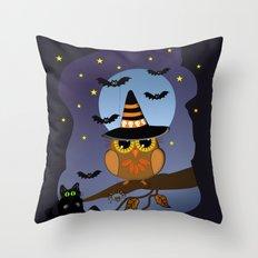 Halloween Owl, bats and black cat Throw Pillow