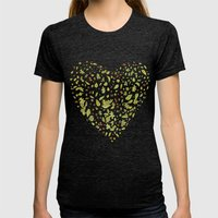 Nature heart Womens Fitted Tee Tri-Black SMALL