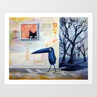 Cat And Bird Art Print