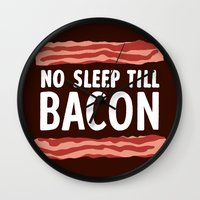 No Sleep Till Bacon Wall Clock