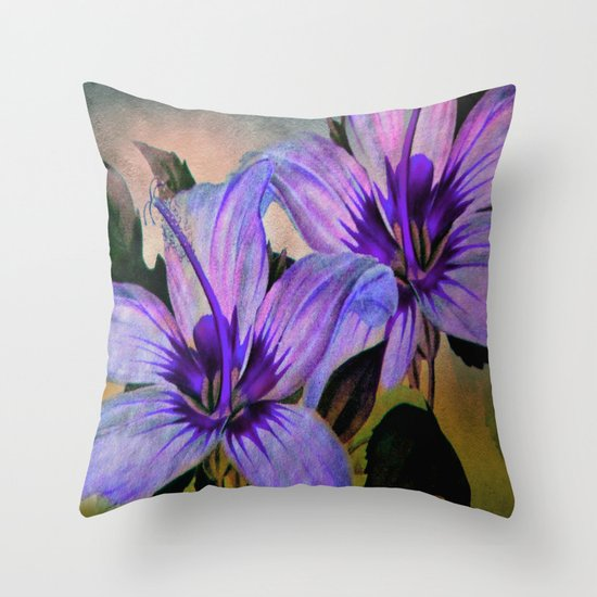 Vintage Painted Lavender Lily Throw Pillow