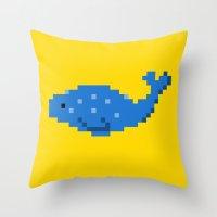 8-bit Seal Throw Pillow
