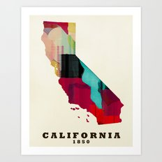 California State Map Mod… Art Print