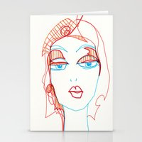 girl sketch Stationery Cards