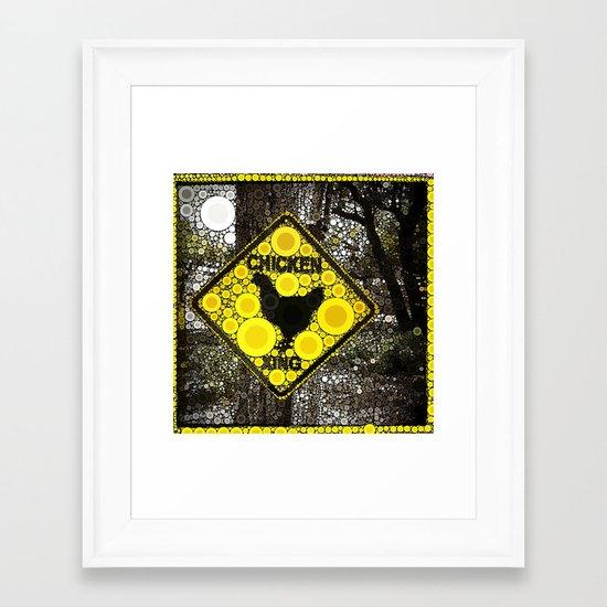 Chicken Crossing Framed Art Print