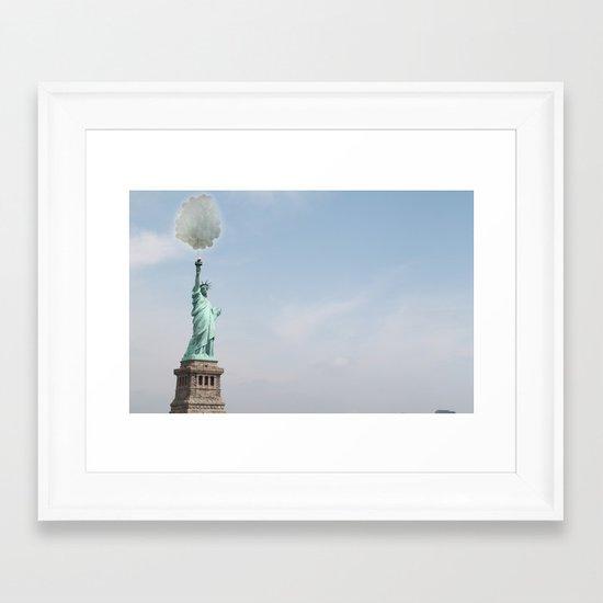 Lady liberty balloons Framed Art Print
