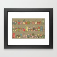 City {Housylands - Brown… Framed Art Print