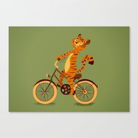 Tiger on the bike Canvas Print