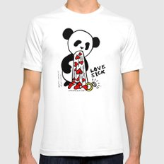 LOVESICK PANDA - grey White SMALL Mens Fitted Tee