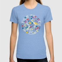 Garden Birds Womens Fitted Tee Tri-Blue SMALL