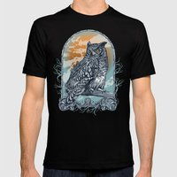 Twilight Owl Mens Fitted Tee Black SMALL