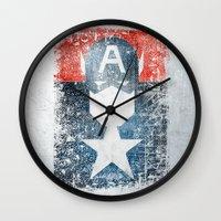 Yankee Captain grunge superhero Wall Clock