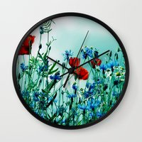 Cornflowers, poppies and chamomile in vintage look Wall Clock