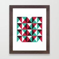 Red, turquoise, black triangle pattern Framed Art Print