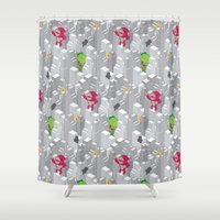 Cute Disaster Pattern Shower Curtain