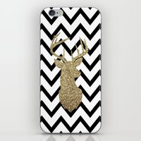 Glitter Deer Silhouette with Chevron iPhone & iPod Skin