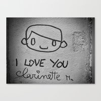 I Love You Clarinette! Canvas Print