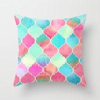 Watercolor Moroccan Patc… Throw Pillow