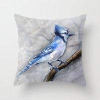 Blue Jay Watercolor | Bird Illustration Throw Pillow