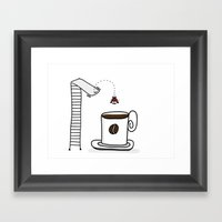Diving Into Coffee Framed Art Print