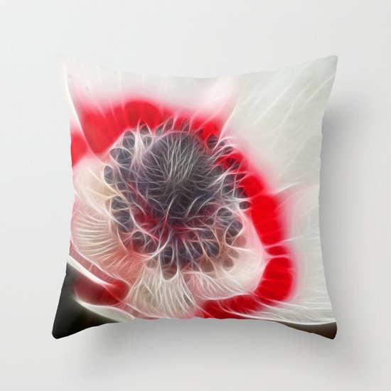 Multi Coloured Anemone Throw Pillow