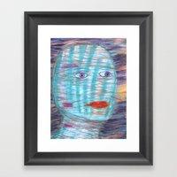 Plaid Head Framed Art Print