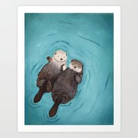 cute Art Prints featuring Otterly Romantic - Otters Holding Hands by When Guinea Pigs Fly