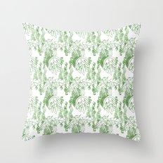 Jamaican Botanicals - Green & White Throw Pillow