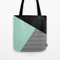 Mint Color Block with Stripes // www.penncilmeinstationery.com Tote Bag