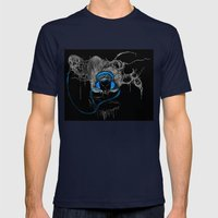 Blue Headphones Mens Fitted Tee Navy SMALL