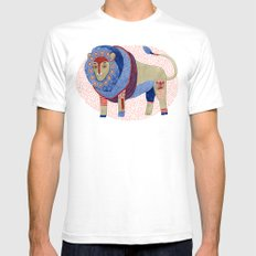 Blue Floral Lion Mens Fitted Tee White SMALL