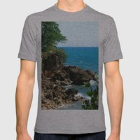 Near the lighthouse @ Rincon Mens Fitted Tee Athletic Grey SMALL