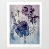 Bones and poppies Art Print