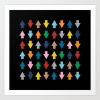 Arrows Up And Down Black Art Print