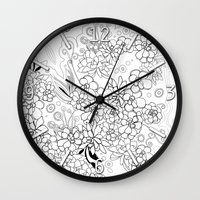 Succulents, black and white Wall Clock