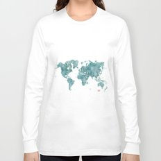 World Map Blue Vintage Long Sleeve T-shirt
