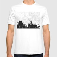 NYC Splatterscape Mens Fitted Tee White SMALL