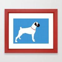 White Boxer Dog Art Print Framed Art Print