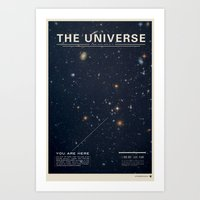 typography Art Prints featuring THE UNIVERSE - Space | Time | Stars | Galaxies | Science | Planets | Past | Love | Design by Mike Gottschalk