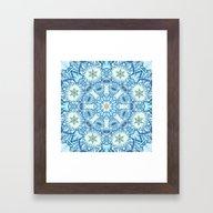 Winter Blues Pattern Wit… Framed Art Print