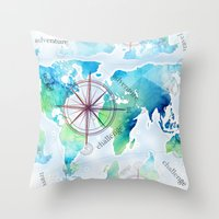 Watercolor Map Throw Pillow