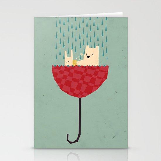 umbrella bath time! Stationery Card