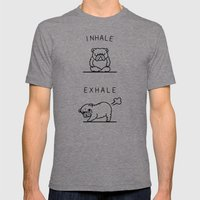 Inhale Exhale English Bulldog Mens Fitted Tee Tri-Grey SMALL