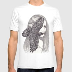Crow White Mens Fitted Tee SMALL