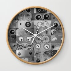 Eyes Eyes Eyes BW Wall Clock