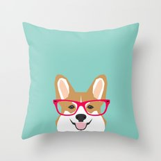 Teagan Glasses Corgi cute puppy welsh corgi gifts for dog lovers and pet owners love corgi puppies Throw Pillow